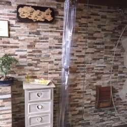 cortina de ducha transparente